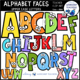 Alphabet Faces Uppercase Clip Art Set