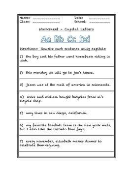 Capital Letters Worksheet