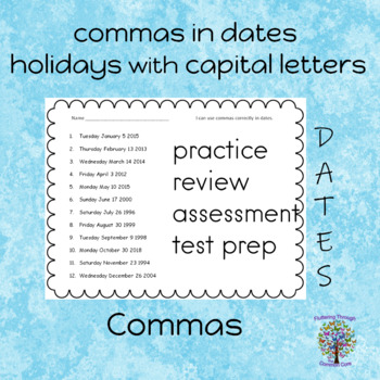 Capital Letters and Commas Worksheets (practice, review, test prep, assessment)