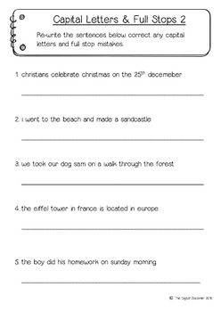 capital letters and full stops worksheets literacy 15 printables. Black Bedroom Furniture Sets. Home Design Ideas