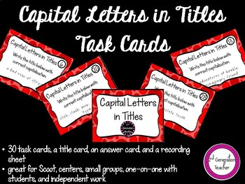 Capital Letters in Titles Task Cards