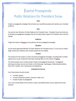Capital Propaganda Project for President Snow and Hunger Games