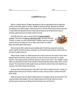 Capital Resources (reading comprehension)
