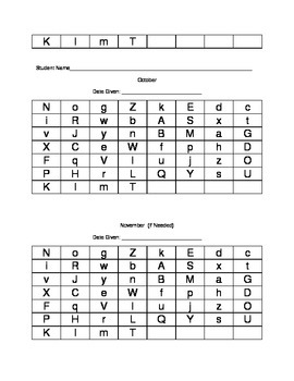 Capital and Lower Case Letter Identification Checklist
