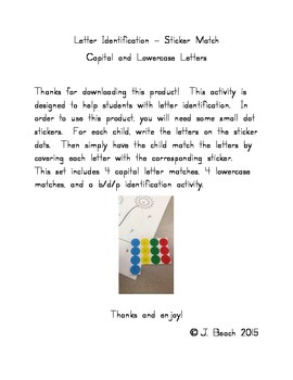 Capital and Lowercase Letter Identification- Sticker Match