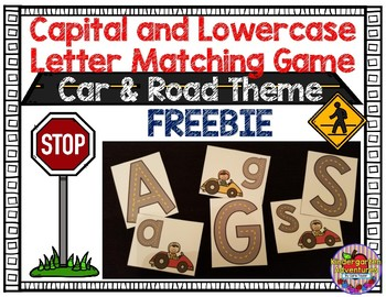Capital and Lowercase Letter Matching Game-Car & Road Theme
