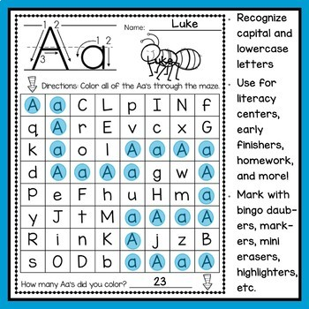 Capital and Lowercase Letter Mazes
