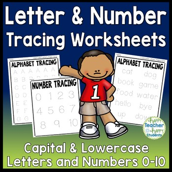 Alphabet Tracing (Capital & Lowercase) & Number Tracing: 15 Worksheets total