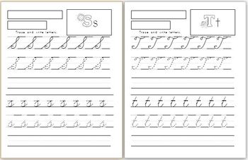 Capital and Lowercase cursive letters handwriting worksheets (4 versions)