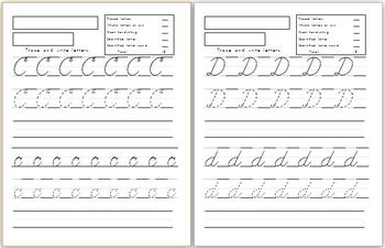 Capital and Lowercase cursive letters handwriting workshee