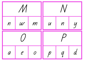 Capital and lower case letter peg cards