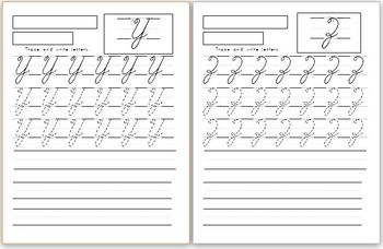 Capital cursive letters handwriting worksheets (4 versions)