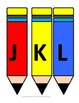 Capital letters on colorful pencils