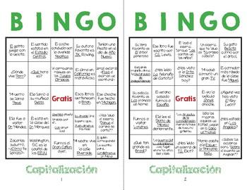 Capitalizacion Bingo! Spanish Capitalization Bingo!