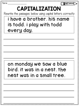 Capitalization Worksheets Rewrite the Passage