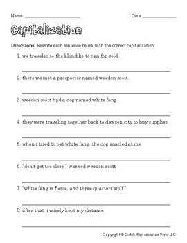 graphic about Printable Capitalization Worksheets titled Capitalization Worksheets