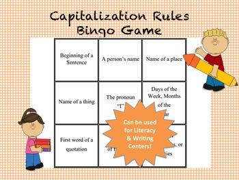 Capitalization Rules Bingo Game