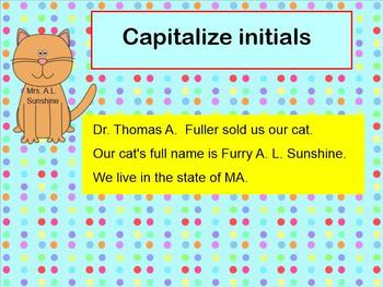 Capitalization Cats SMARTBoard lessons with Printable Center