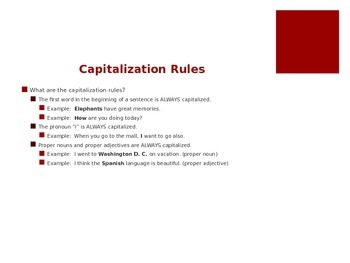 Capitalization, Commas, and Direct Quotes State Test Review (editable)
