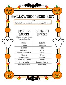 Capitalization, Common & Proper Nouns L.2.2A -Halloween Word Study List & Test