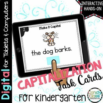 Kindergarten Capitalization Digital Task Cards - Paperless