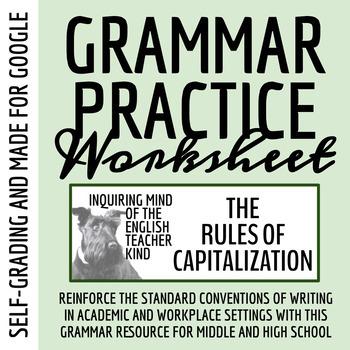 High School Grammar Packet Resolving Capitalization Errors Tpt