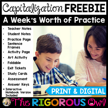 Capitalization Lesson with a Week's Worth of Practice FREEBIE!!!
