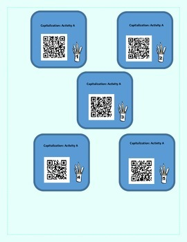 Capitalization Lessons and Practice with QR Codes - Self Check (Common Core)