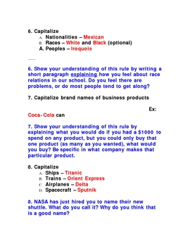 Capitalization Notes and Exercises