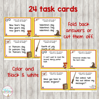 Capitalization Posters, Task Cards, and Worksheets
