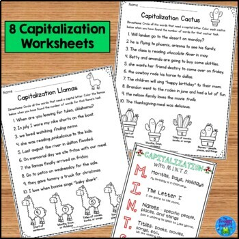 Capitalization Practice Bundle - Worksheets and Task Cards