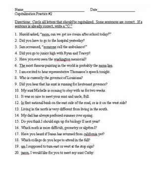 Capitalization Practice Worksheets 1-3 (60 total sentences to correct)