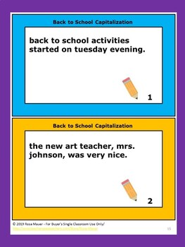 Capitalization Practice for Back to School Lesson Plans and Activities for Kids