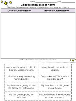 Capitalization: Proper Nouns - Cut and Paste Activity King Virtue's Classroom