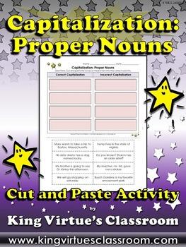 Capitalization: Proper Nouns - Cut and Paste Activity King