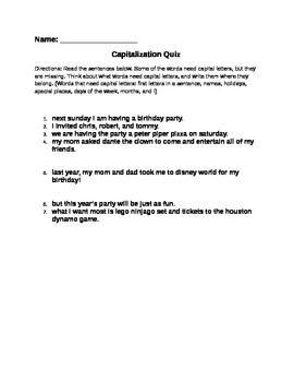 Capitalization Quiz