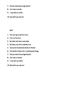 Capitalization Quiz with KEY