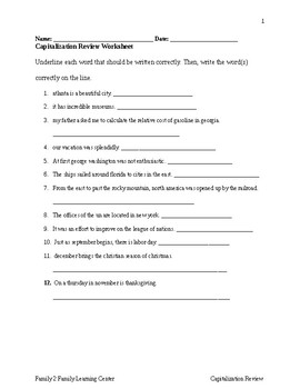 Capitalization Review Worksheet