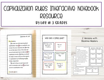Capitalization Rule Interactive Notebook Resource *Editable*