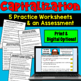Capitalization Rules: 5 Worksheets and 1 Assessment