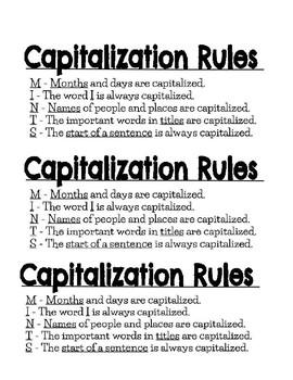 Capitalization Rules Bookmarks