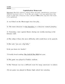 Capitalization: Rules & Homework