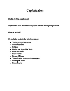 Capitalization Rules Notes