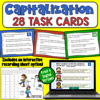 Capitalization Rules Task Cards
