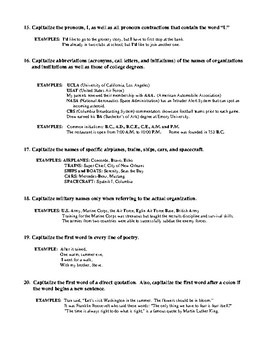 Capitalization Rules and Review with Answer Key
