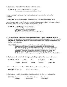 Capitalization Rules and Review #2 with Answer Key