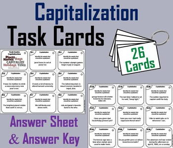 Capitalization Task Cards/ Capitalization Rules Task Cards 3rd 4th 5th 6th Grade
