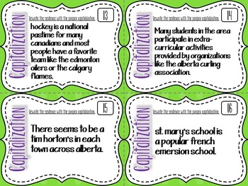 Capitalization Task Cards - Canadian Content