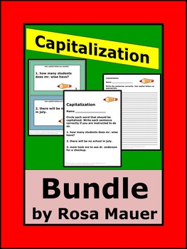 Capitalization Task Cards and Worksheets Bundle