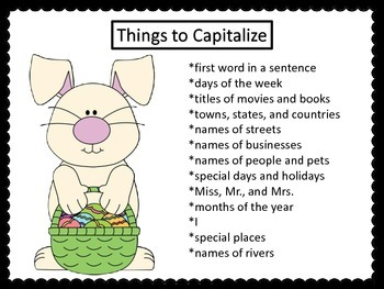 Capitalization Task Cards for Easter